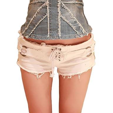 ab37679693661b Elonglin Shorts Mini Femme Jean Court Sexy Été Taille Baisse Bandage  Vintage Pantalon Short Bermudas Denim Collant Short en Denim Frange Femme  ...