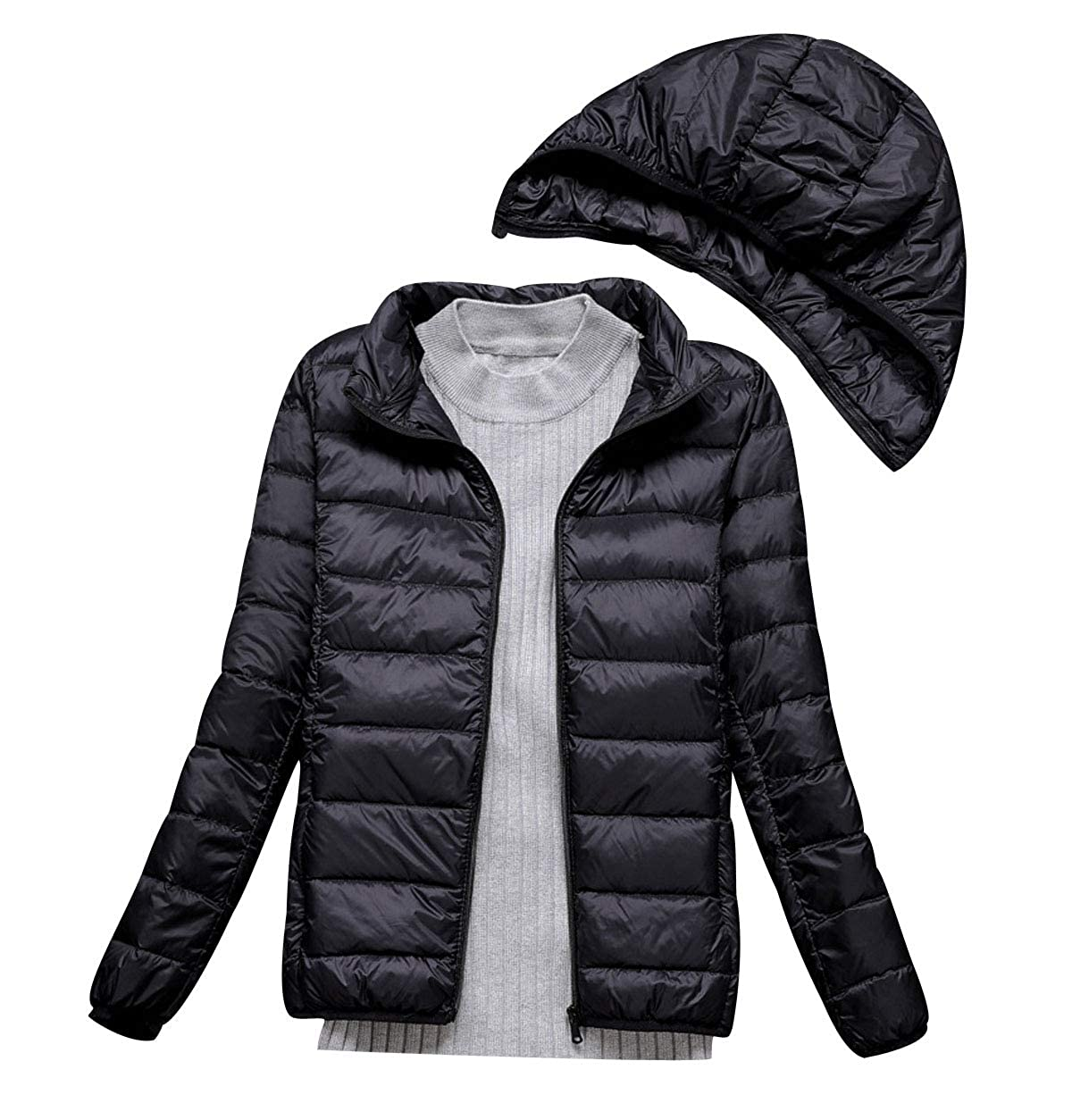 3a186c6cf Lightweight Down Jacket Women with Movable Hood Womens Down Coats Women'S  Ultra Light Packable Down Jacket Down Filled Coat Parka Quilted Padded ...