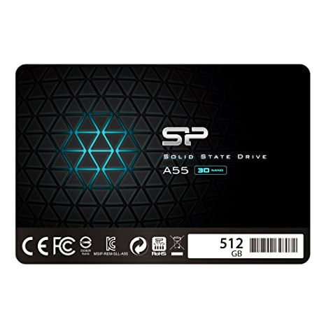 "Silicon Power 512GB SSD 3D NAND A55 SLC Cache Performance Boost SATA III 2.5"" 7mm (0.28"") Internal Solid State Drive (SP512GBSS3A55S25) Internal Solid State Drives at amazon"