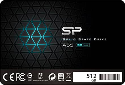 "Silicon Power 512GB SSD 3D NAND A55 SLC Cache Performance Boost SATA III 2.5"" 7mm (0.28"") Internal Solid State Drive (SP512GBSS3A55S25)"