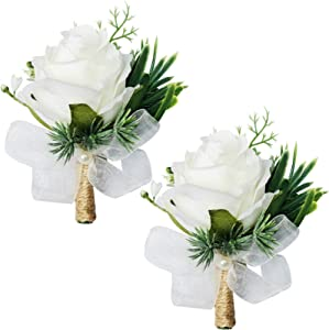 WEIERYUE White Rose Wrist Flowers and Men's Corsage Wedding Flowers Ceremony,2Pcs Boutonniere Buttonholes and Wrist Corsage Wristband Roses Wrist Corsage (2pcs White Corsages)