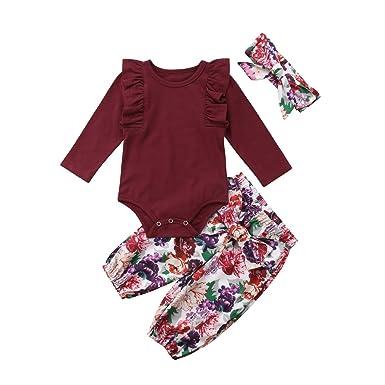 4ba0ea79aa49 Amazon.com  3PCS Clothes Set Newborn Toddler Baby Girl Romper ...
