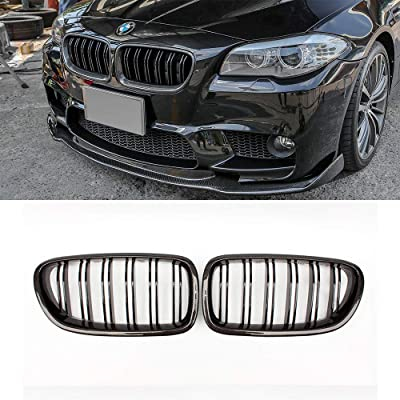 SNA Carbon Fiber F10 Grille, Front Kidney Grill for 2010-2016 BMW 5 Series F10 F11 And F10 M5 (Double Slats Gloss Black Grill, 2-pc Set): Automotive