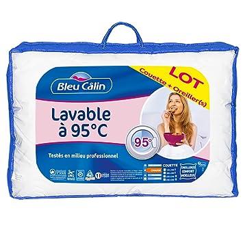af1188ea6ed8 Bleu Câlin Pack Couette 1 Personne 140x200 cm + 1 Oreiller 60x60 cm,  Lavables à