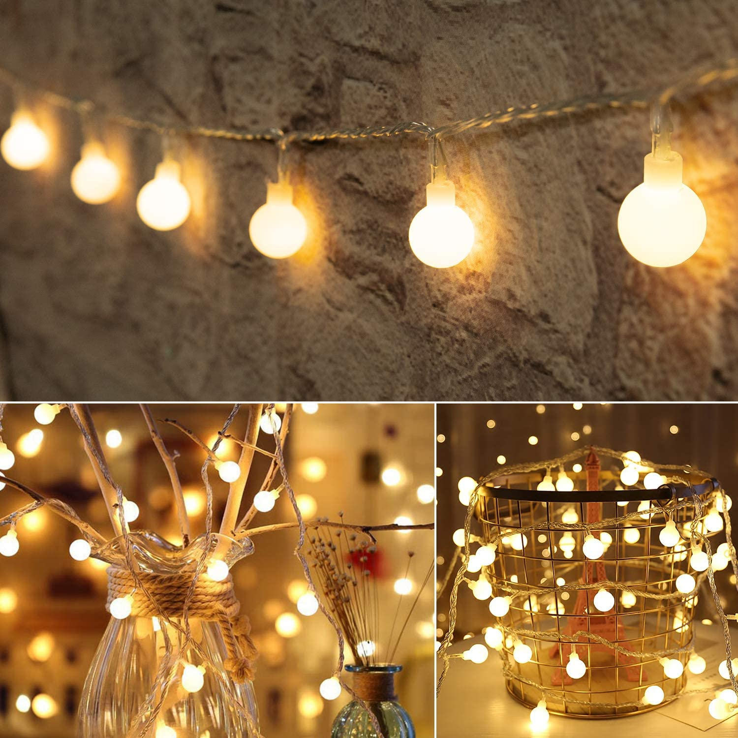 Amazon Com 33 Feet 100 Led Globe Ball String Lights Fairy String Lights Plug In 8 Modes With Remote Decor For Indoor Outdoor Party Wedding Christmas Tree Garden Warm White Home Kitchen
