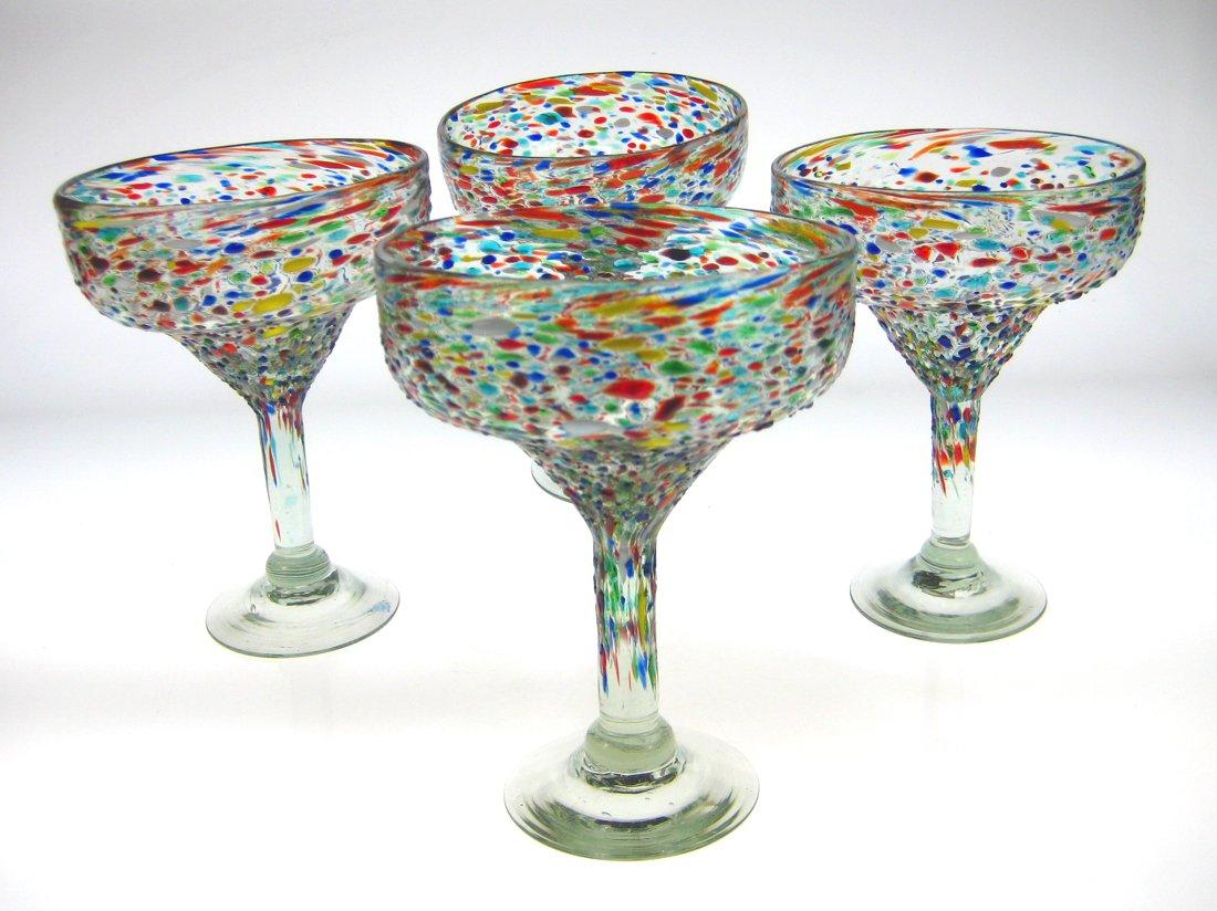 Mexican Glass Margarita Pebble or Bumpy Confetti (4)