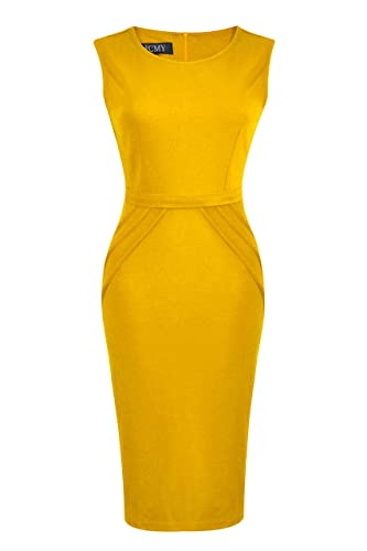 HCMY Work Club Dresses for Women Slim Party Pencil Casual Office Midi Dress Clothing