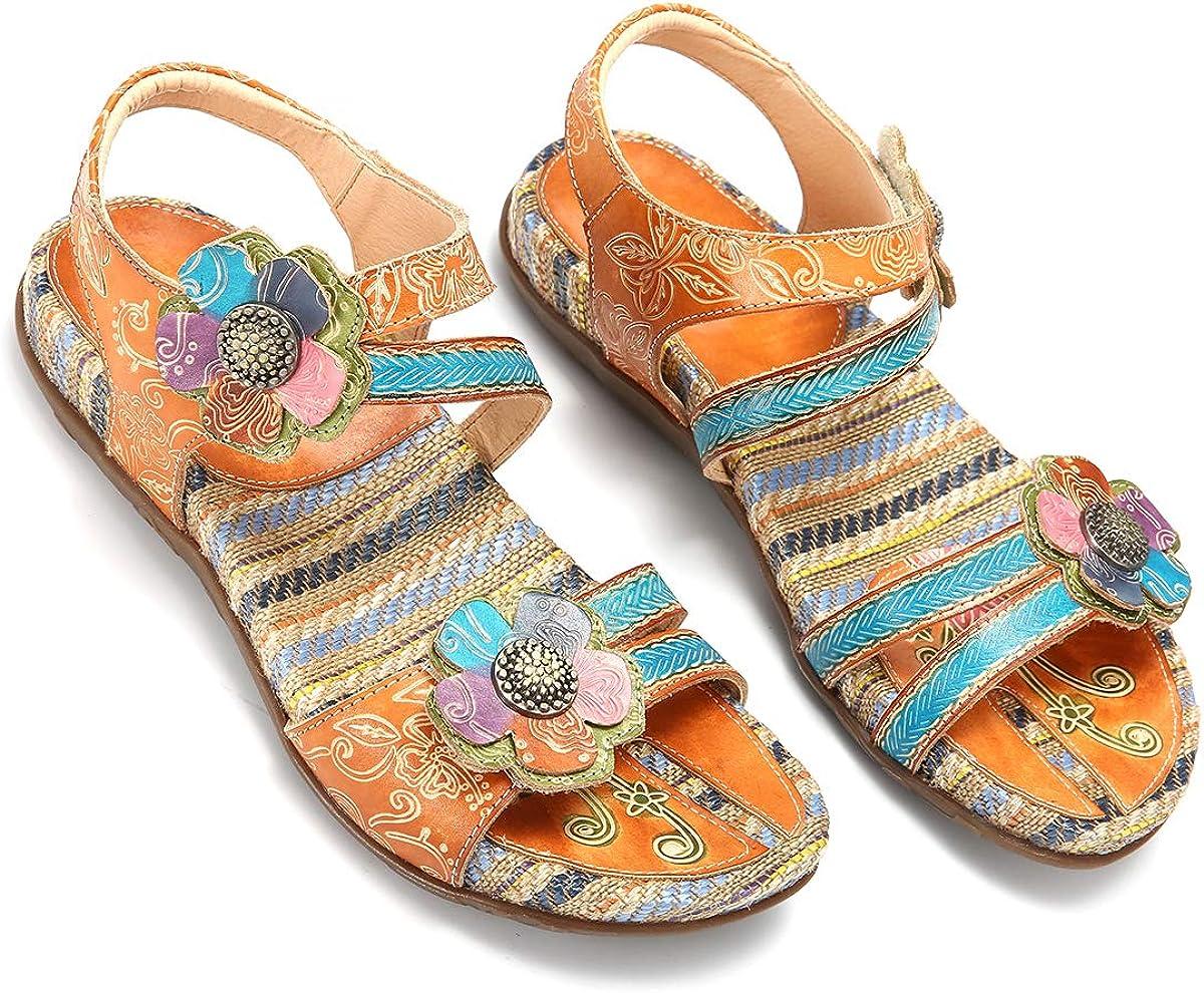 gracosy Sandalias Cuero Planas Verano Mujer Estilo Bohemia Zapatos para Mujer de Dedo Sandalias Talla Grande 37-42 Chanclas Romanas de Mujer Café Naranja Hecho a Mano Los Zapatos 2019