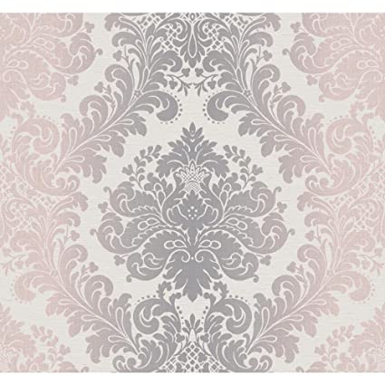 York Wallcoverings PH4604 Artisan Estate Ombre Damask Wallpaper Off White Silver Pale Pink