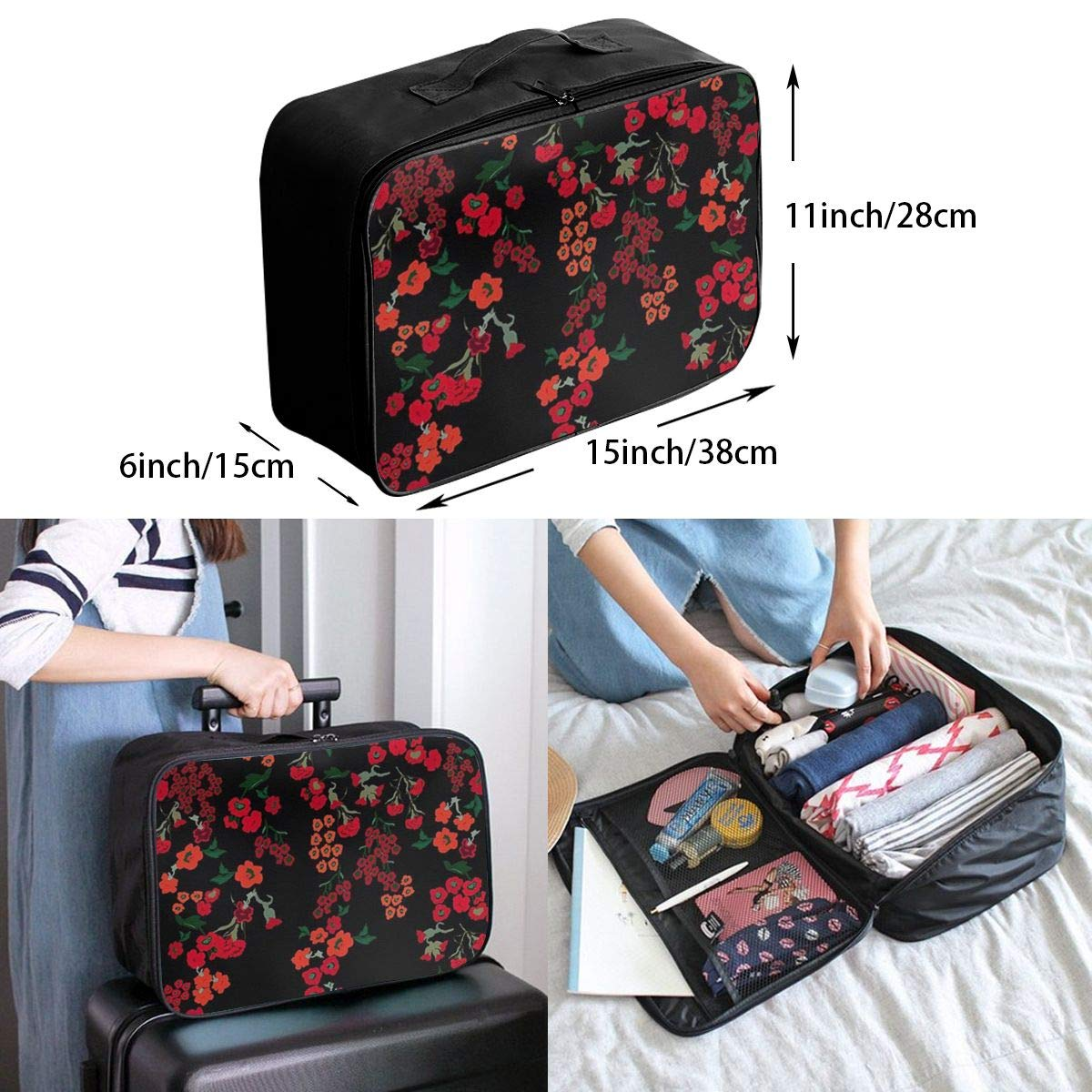 Red Floral Flowers In Dark Travel Lightweight Waterproof Folding Storage Portable Luggage Duffle Tote Bag Large Capacity In Trolley Handle Bags 6x11x15 Inch