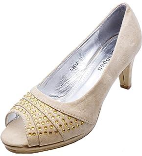 9fba2b693f Ladies Beige Diamante Low Heel Peeptoe Slip-On Smart Court Work Evening Shoes  Sizes 3