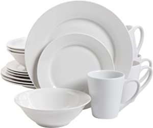 Gibson Home Zen Buffet Coupe Dinnerware Set, Service for 4 (16pcs), White (Round)