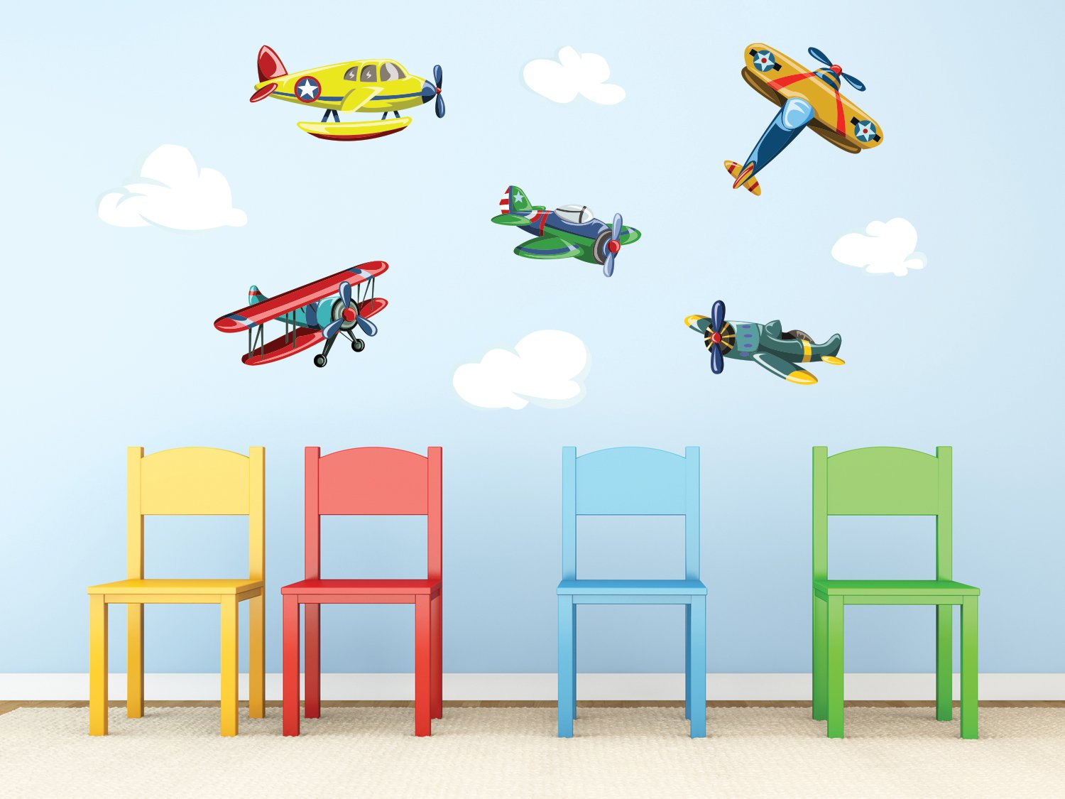 Amazon.com: Sunny Decals Vintage Airplane Fabric Wall Decals (Set Of 5):  Home U0026 Kitchen