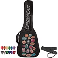 ChromaCast World Tour Graphic Two Pocket 3/4 Size Acoustic Guitar Padded Gig Bag, with Pick Sampler & Guitar Strap (CC…