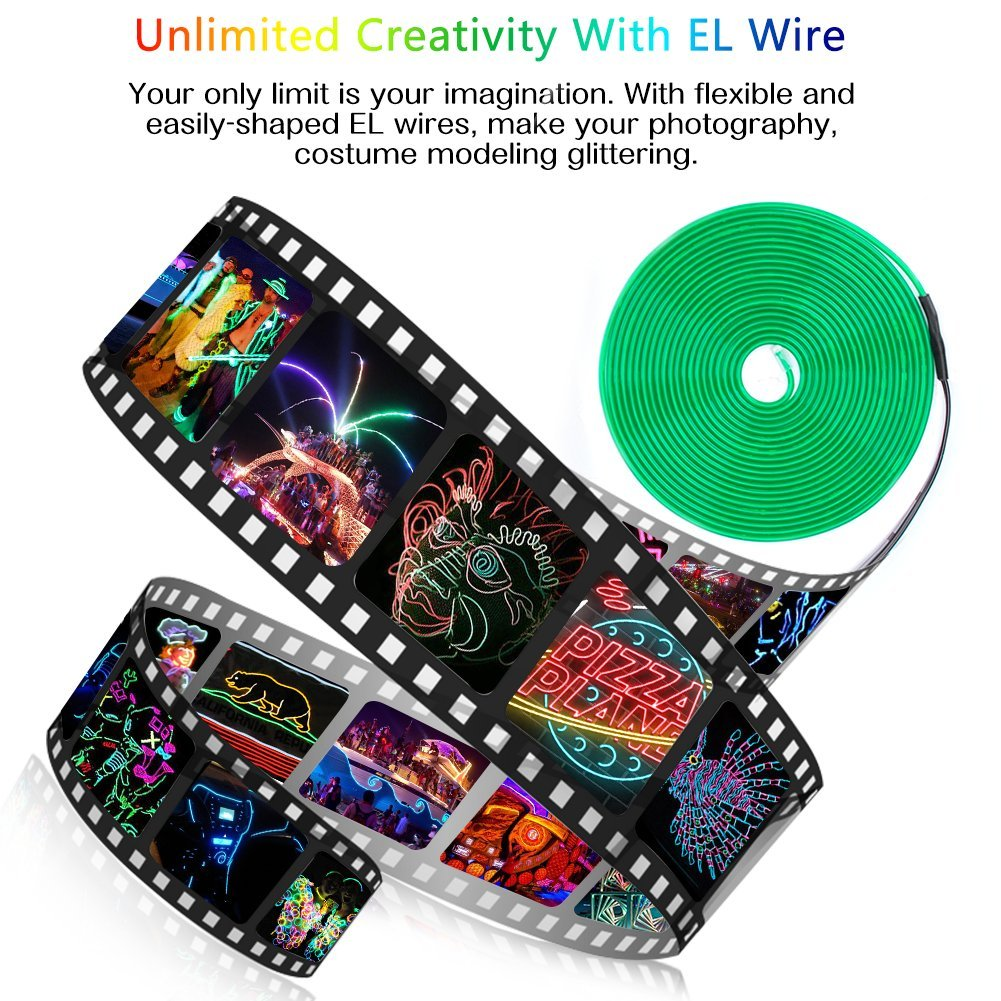 Neon Lights Portable Neon Glowing Strobing Electroluminescent Wire with Battery Pack Zitrades EL Wire Green 15ft