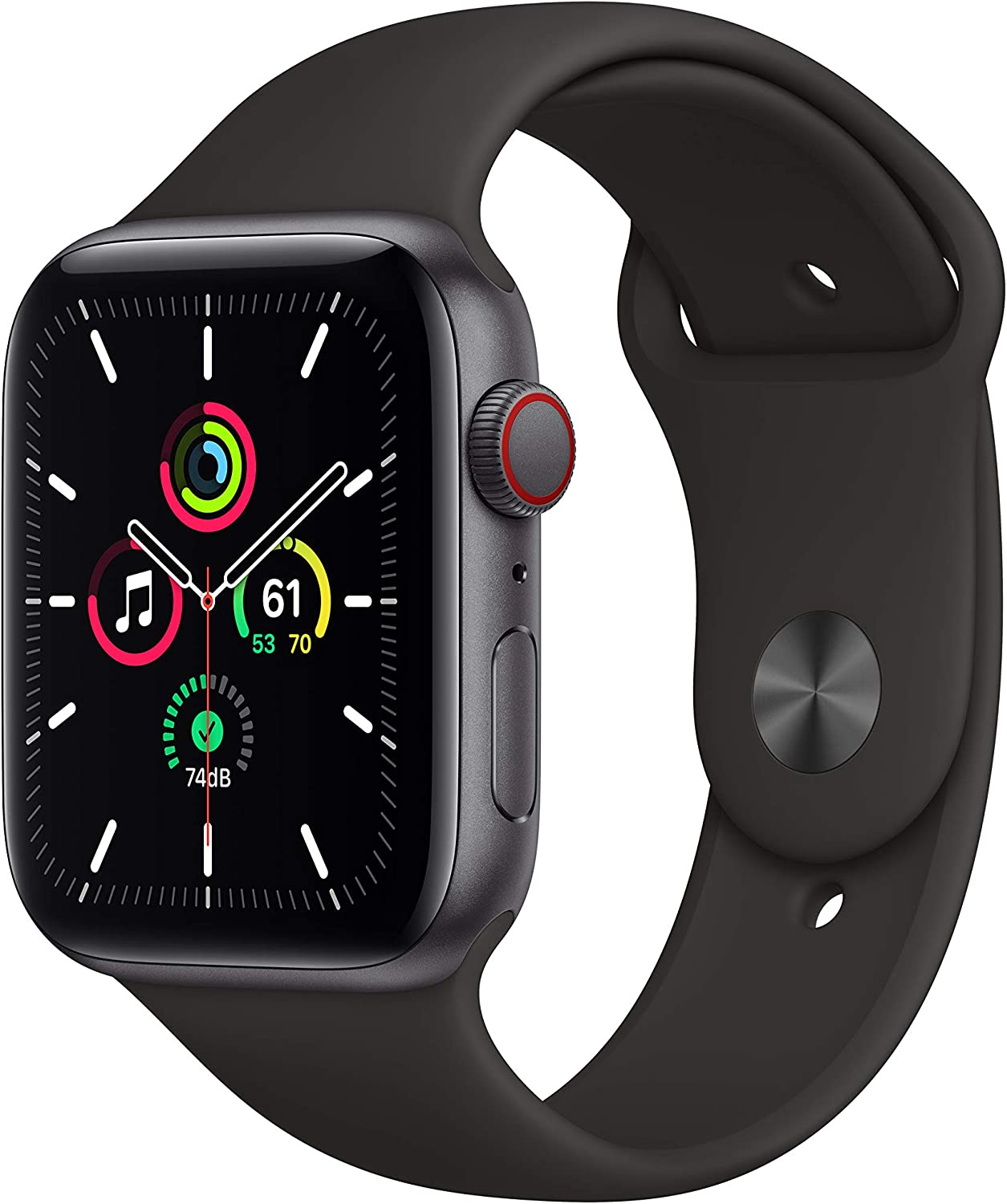 New Apple Watch SE (GPS + Cellular, 44mm) - Space Gray Aluminum Case with Black Sport Band
