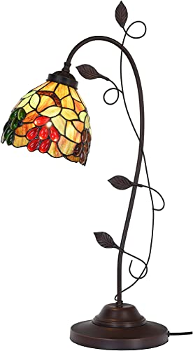 Bieye L10763 Grape Tiffany Style Stained Glass Table Lamp