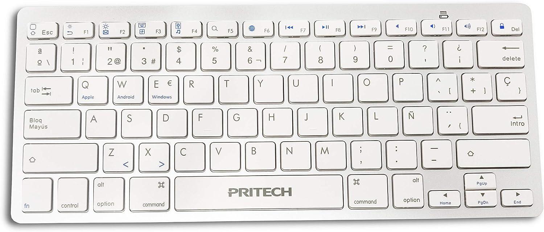 PRITECH - Teclado Español Ultra-Delgado Inalámbrico Bluetooth para iOS (iPhone, iPad) y MacOs (Macbook, Mac Mini, iMac, Mac Pro) PBP-099