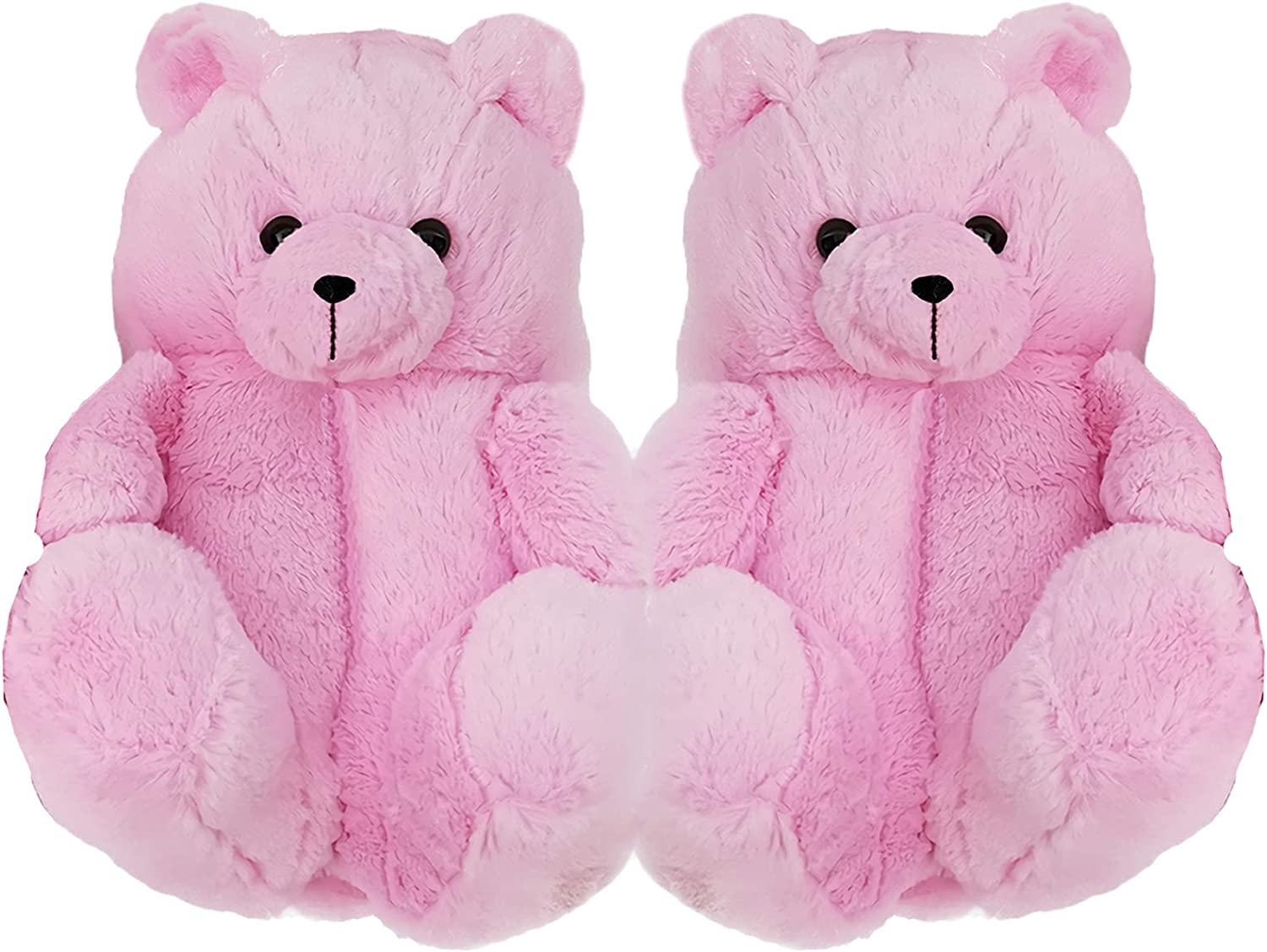 Teddy Bear Slippers for Women, Home Indoor Soft Plush Anti-Slip Washable Animal Slipper, Cute Furry Winter Warm Faux Fur Big Cartoon Bear Slides Shoes for Kids and Adults