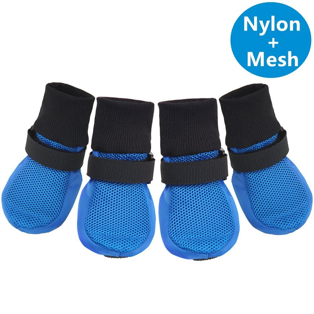 bluee XL (3.22\ bluee XL (3.22\ Ulandago Upgrade Breathable Mesh Soft Sole Dog Boots