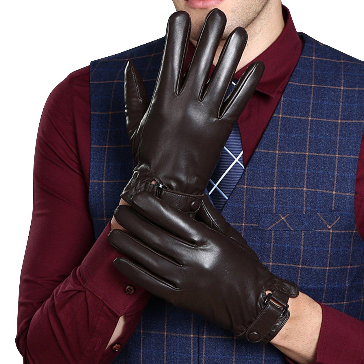KelaSip Sheepskin Leather Gloves Touchscreen Winter Warm Business Fashion for Men's Texting Driving