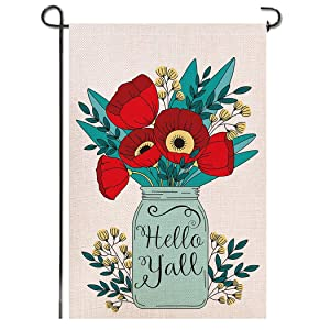 Shmbada Hello Y'all Mason Jars Flowers Burlap Garden Flag, Premium Fabric Double Sided, Welcome Spring Summer Floral Outdoor Decorative for Garden Yard Lawn, 12.5x18.5 Inch