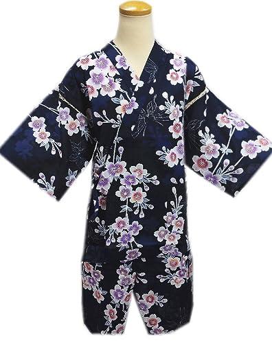女性用レディース甚平じんべい濃紺色地枝垂桜銀ラメ蝶フリー