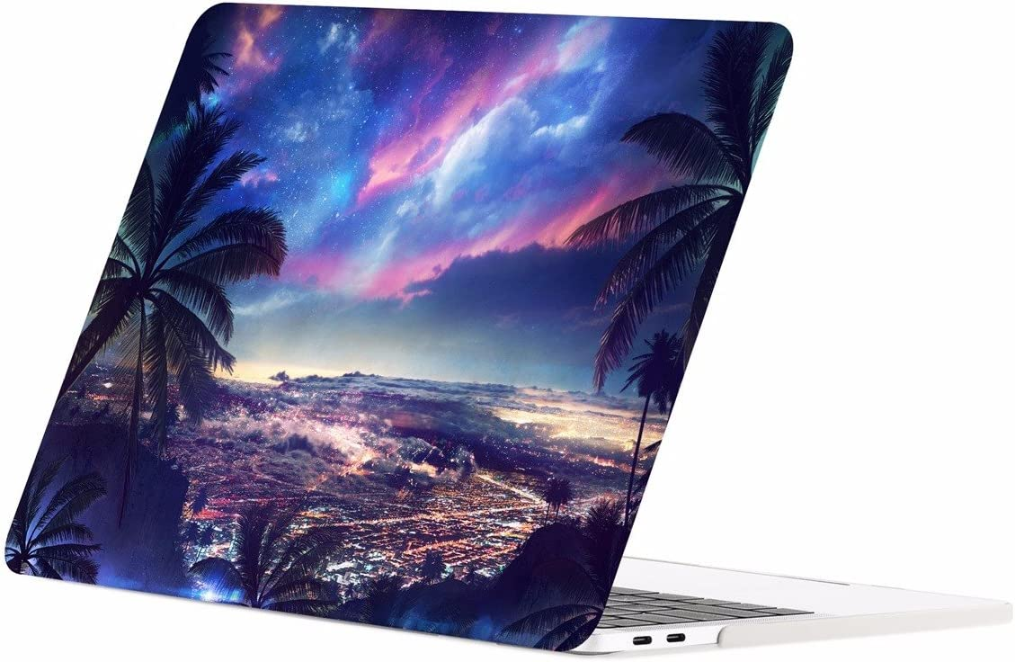 """TOP CASE MacBook Pro 13 inch Case 2019 2018 2017 2016 Release A2159 A1989 A1706 A1708, Graphics Rubberized Hard Case Compatible MacBook Pro 13"""" W/WO Touch Bar – Tropical City Night Scene"""