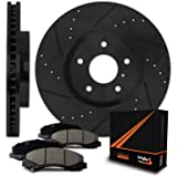 Max Brakes E-Coated Slotted+Drilled Rotors w/Ceramic Pads Front Elite Brake Kit KT005681 [Fits 1999 - 2008 Acura TL   2003 - 2010 TSX]