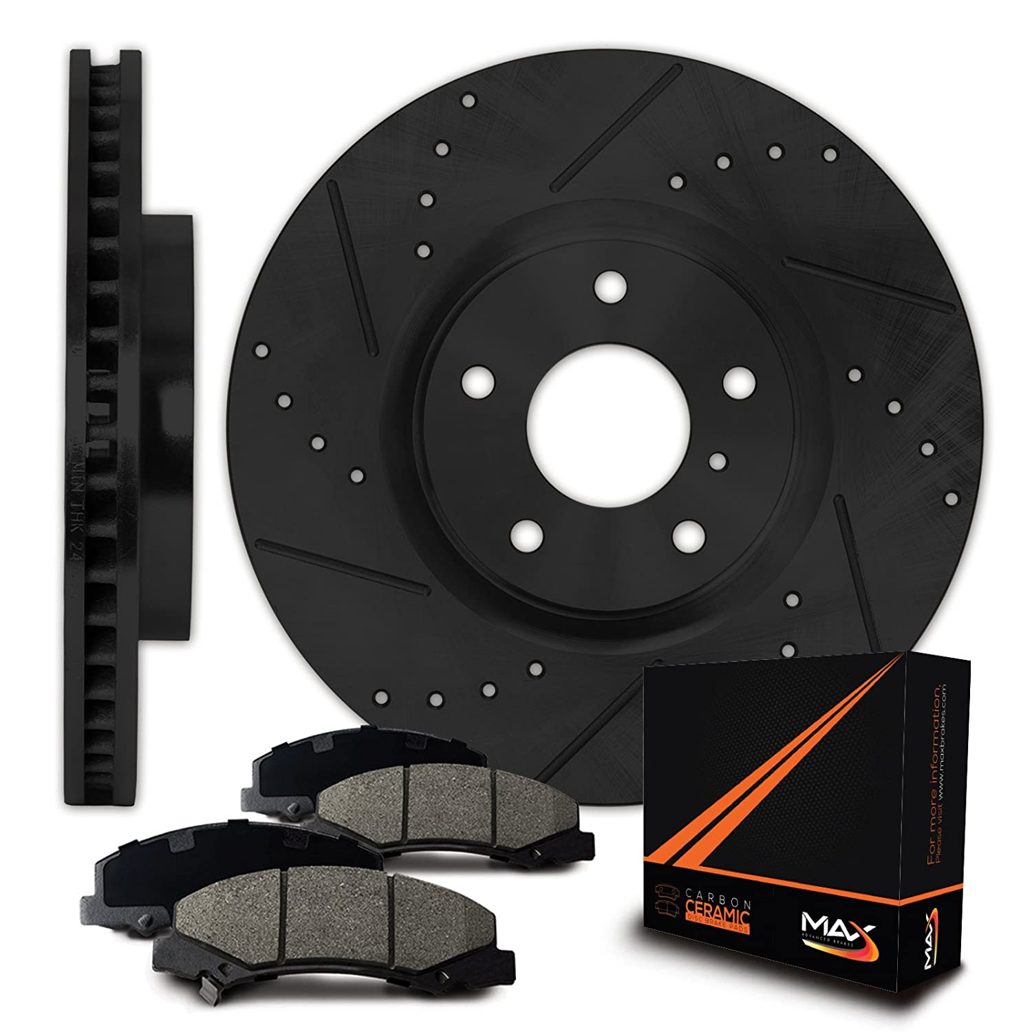 Max Brakes Front E-Coated Slot Drill Rotor w/Ceramic Pad Elite Brake Kit KT031681 | Fits: 2008 2009 Dodge Ram 1500 2WD/4WD Model w/5 Lugs Rotor; Non SRT-10 Model and MEGA CAB Model with 8 Lug Rotor Max Advanced Brakes