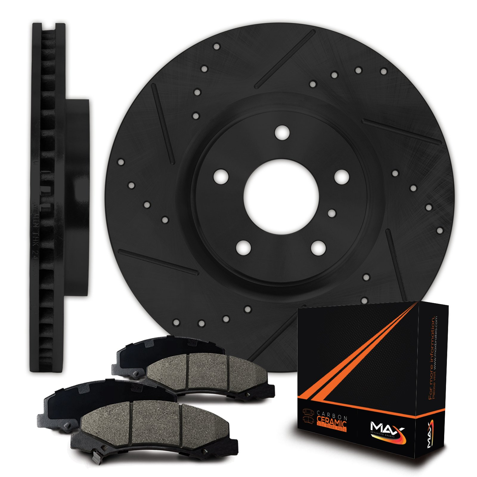 Max Brakes E-Coated Slotted|Drilled Rotors w/Ceramic Brake Pads Front Elite Brake Kit KT005581 [Fits:2003-2008 Corolla Matrix Vibe]