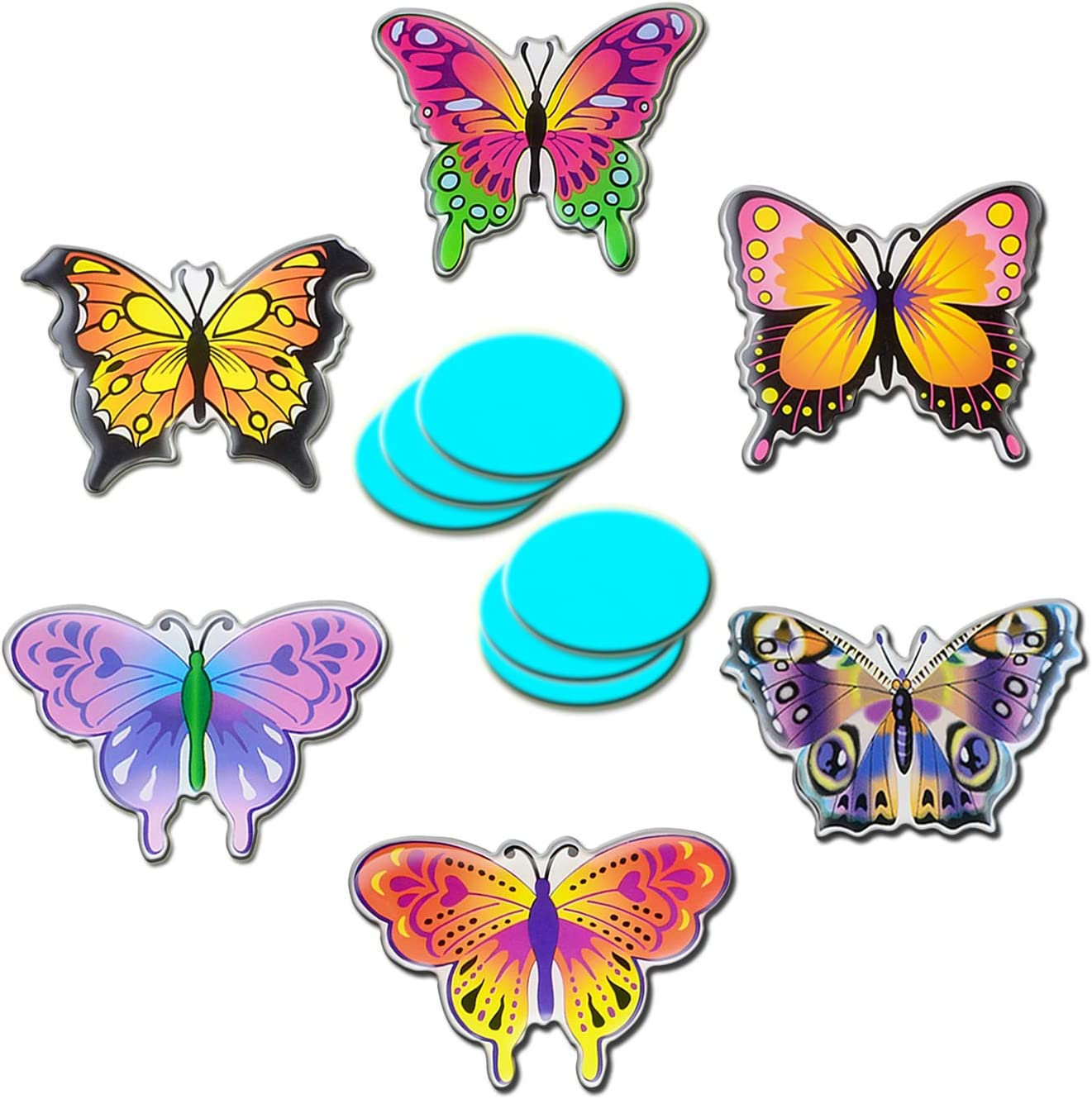 Colorful Butterfly Refrigerator Magnets Cute Fridge Magnets 6 Pcs Decoration Menu Living Room Window Kitchen Classroom Office Screen Locker for Adults Kids Boys and Girls with 6 Pcs Iron Sheet