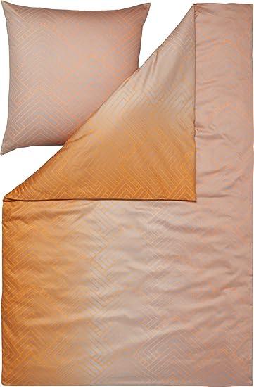 Estella Bettwäsche Tino Satin Orange Größe 155x220 Cm 80x80 Cm