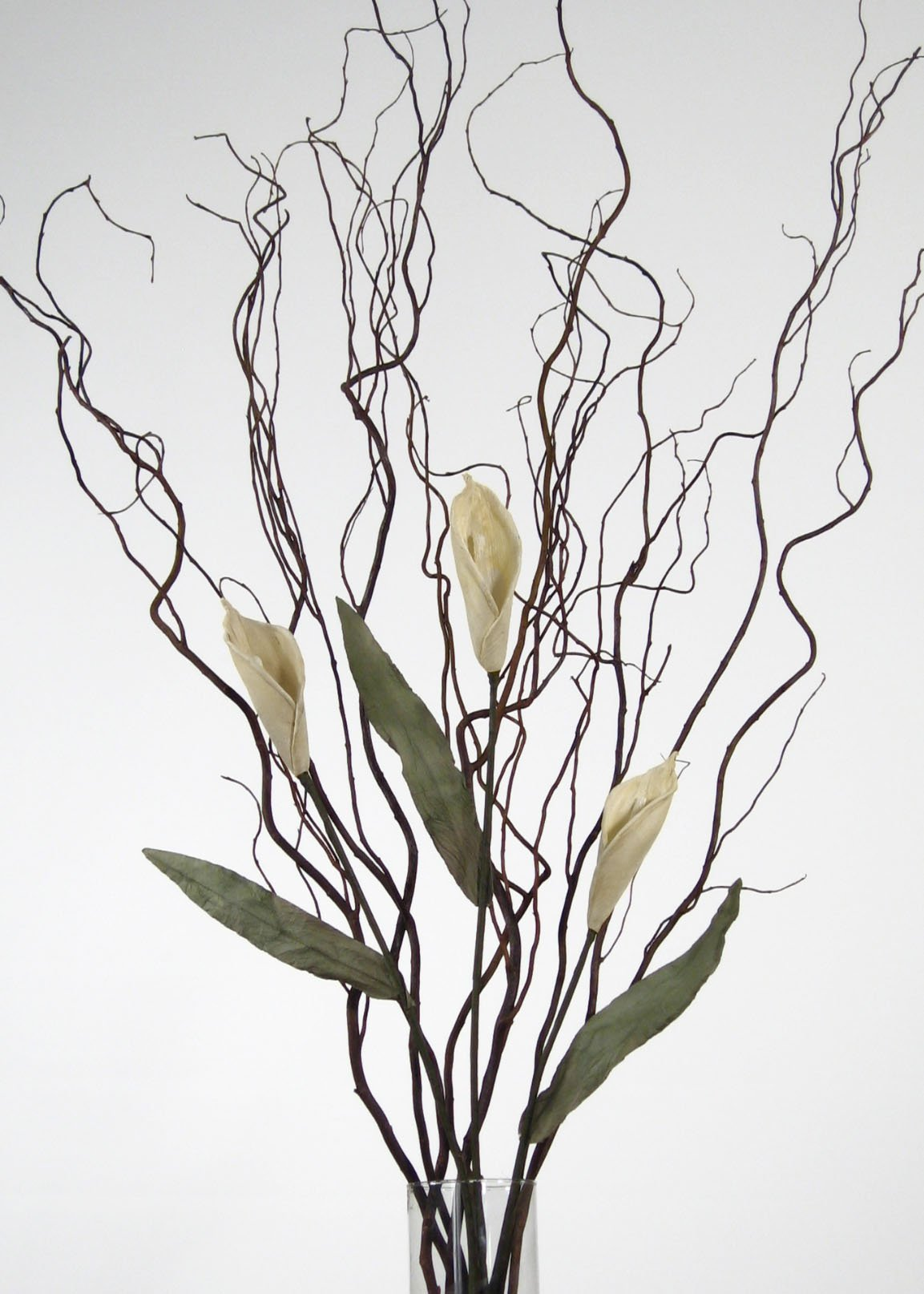 GreenFloralCrafts Curly Willow and White Calla Lilies (Vase Not Included)