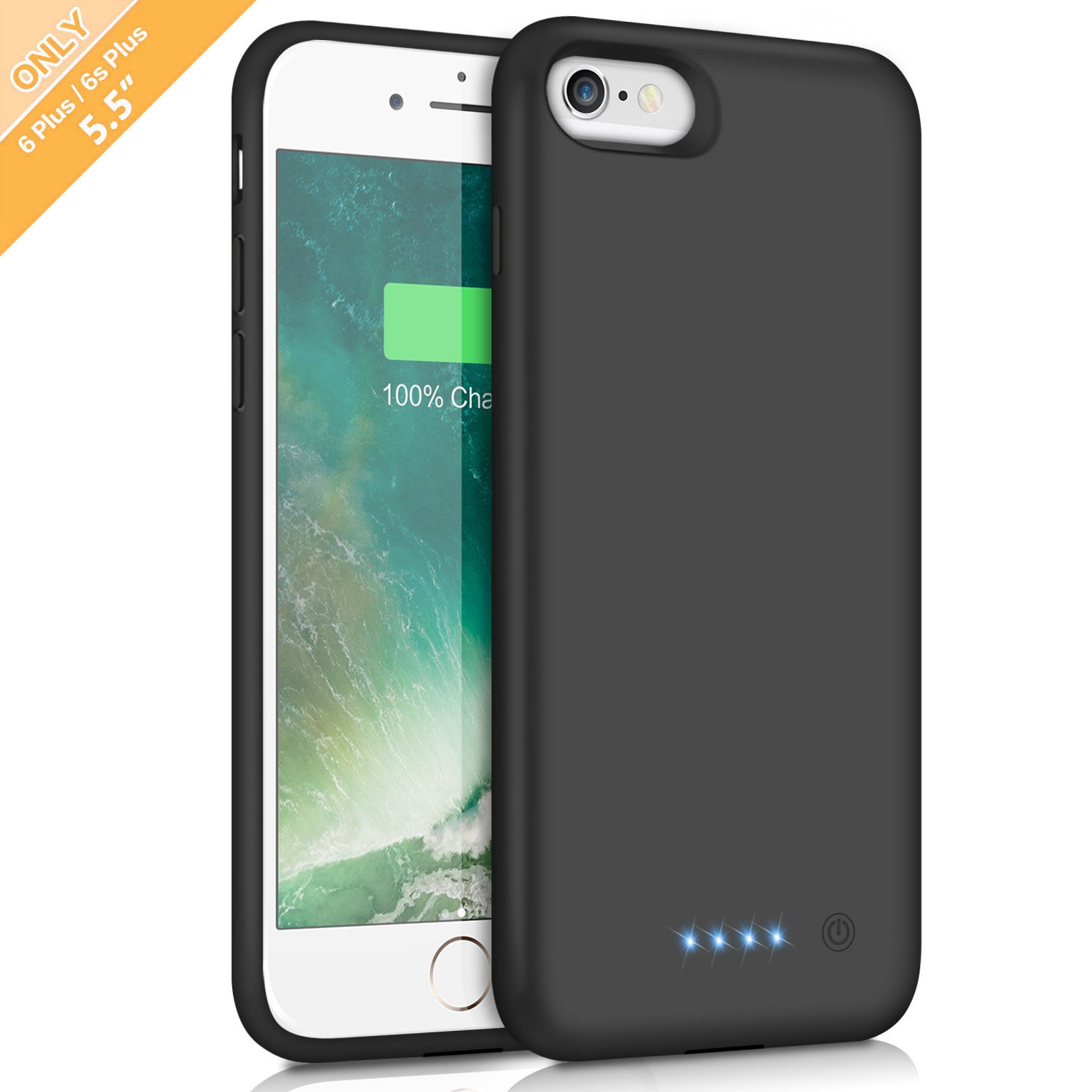 iPhone 6s Plus/6 Plus Battery Case, Feob 8500mAh Rechargeable Charger Case Extended Battery Pack for iPhone 6Plus & 6s Plus Charging Case Portable Power Bank (5.5 inch)- Black