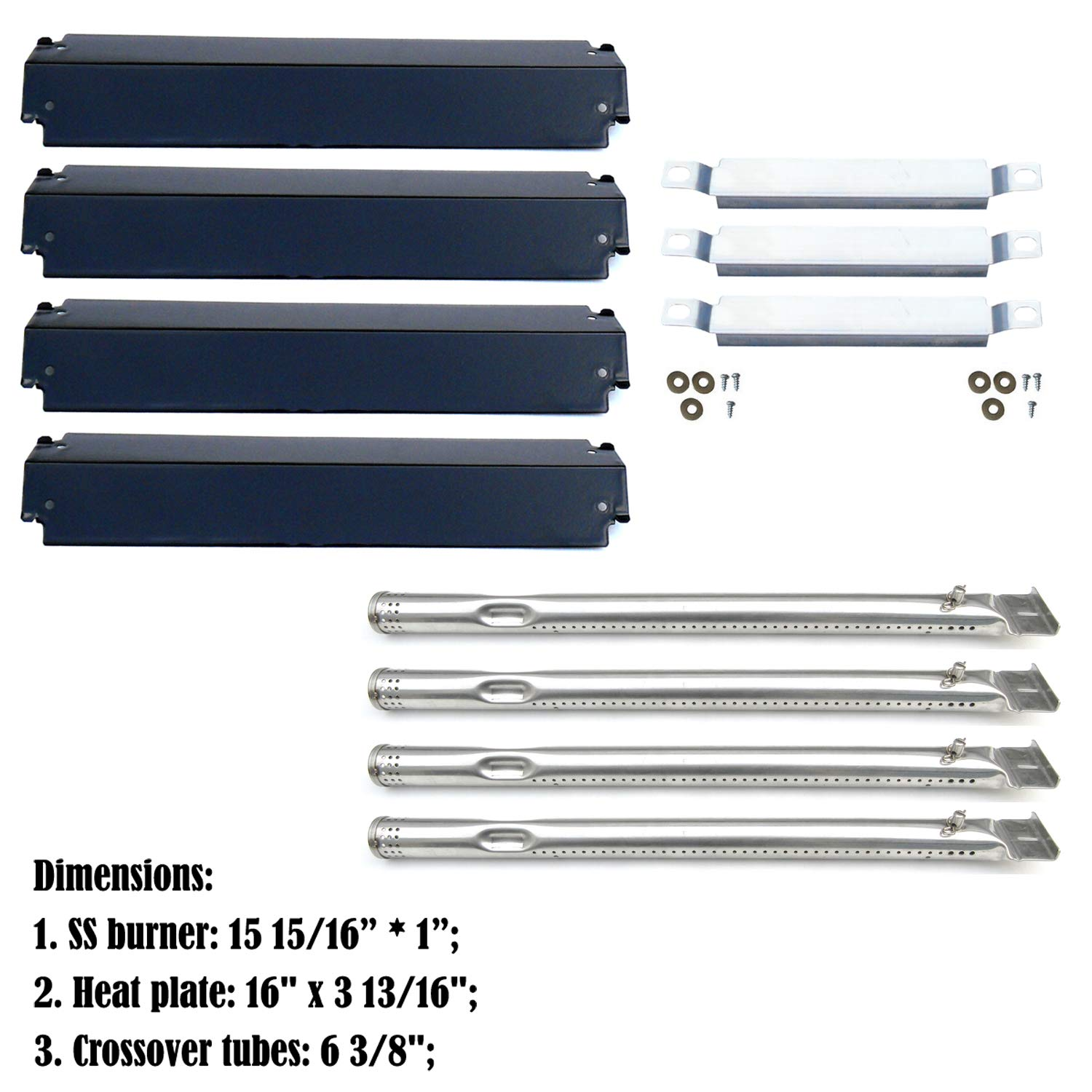 Direct store Parts Kit DG149 Replacement Charbroil 463247310,463257010 Gas Grill Burner,Crossover Tubes,Heat Shield-4 pack SS Burner + SS Carry-over tubes + Porcelain Steel Heat Plate
