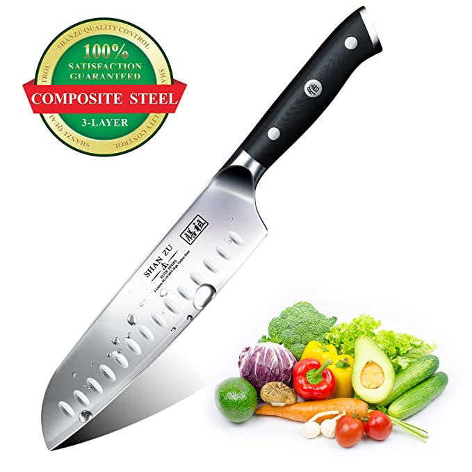 Santoku Chef Knife 7 inch, SHANZU Chefs Knife with 3 Layers Composite High Carbon High Chrome Steel Sharp Kitchen Cooking Knife with Sheath ...