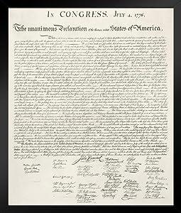 Declaration of Independence United States Continental Congress Philadelphia 1776 Art Black Wood Framed Poster 14x20
