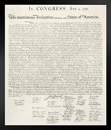 Declaration of Independence United States Continental Congress Philadelphia 1776 Art Black Wood Framed Poster 14×20 inch