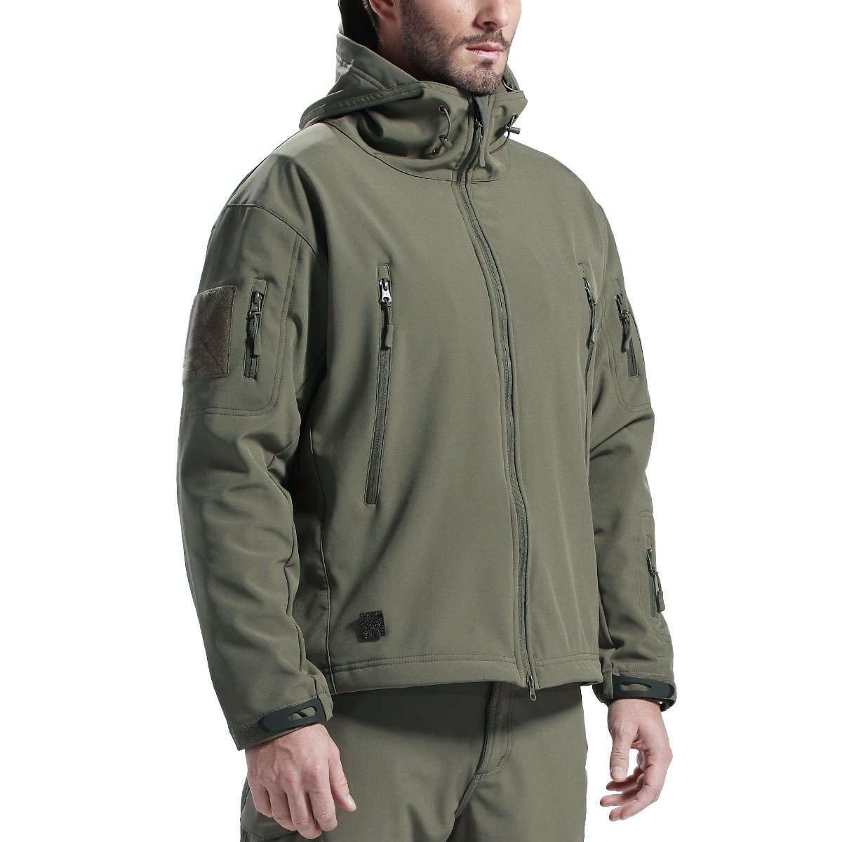 FREE SOLDIER Men's Outdoor Waterproof Soft Shell Hooded Military Tactical Jacket(Army Green L)