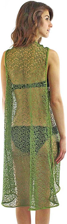 Luxury Divas Long Mesh Beach Cover Up Vest for Swimsuit
