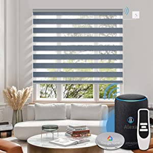 Graywind Motorized Horizontal Zebra Blinds Compatible with Alexa Google WiFi Smart Home Hardwired Plug-in Shades Light Filtering Electric Window Blind, Customized Size (Voice Control-Luxury Blue Grey)