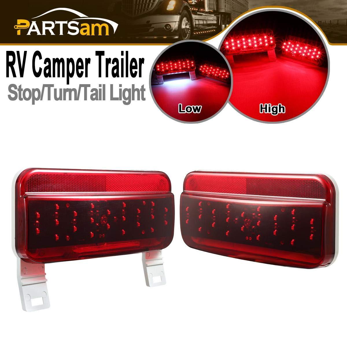 Partsam Rectangular Red LED RV Camper Trailer Stop Turn Brake Tail Lights White License Plate Light Kit 49 LED with White Base Waterproof 12V Sealed with Reflex Lens Surface Mount (Left + Right)