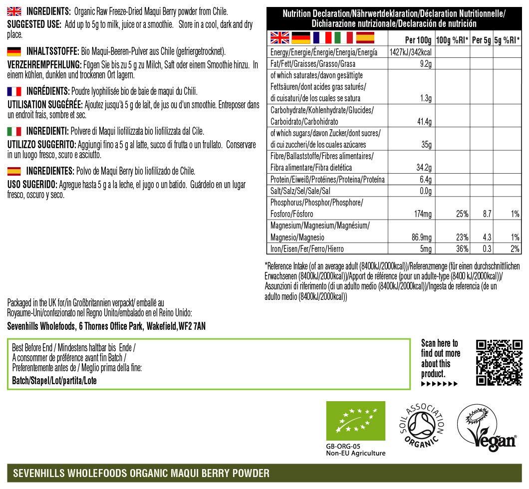 Sevenhills Wholefoods Baya de Maqui en Polvo Liofilizado Orgánico ...