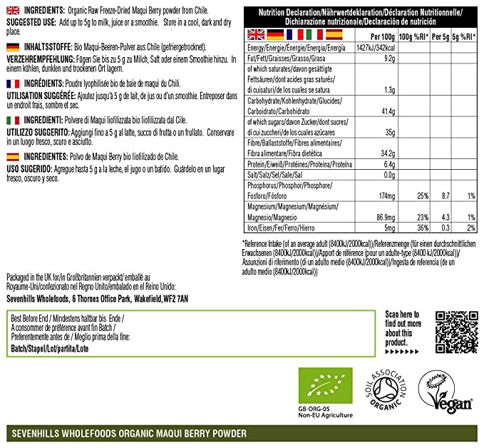 Sevenhills Wholefoods Baya de Maqui en Polvo Liofilizado Orgánico 100g