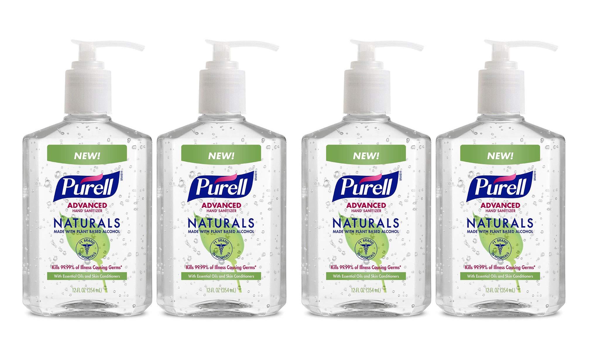 IUYDUH Naturals Advanced Hand Sanitizer - Hand Sanitizer Gel with Essential Oils, 12 fl oz Pump Bottle (Pack of 2) - 9629-06-EC 4 Pack