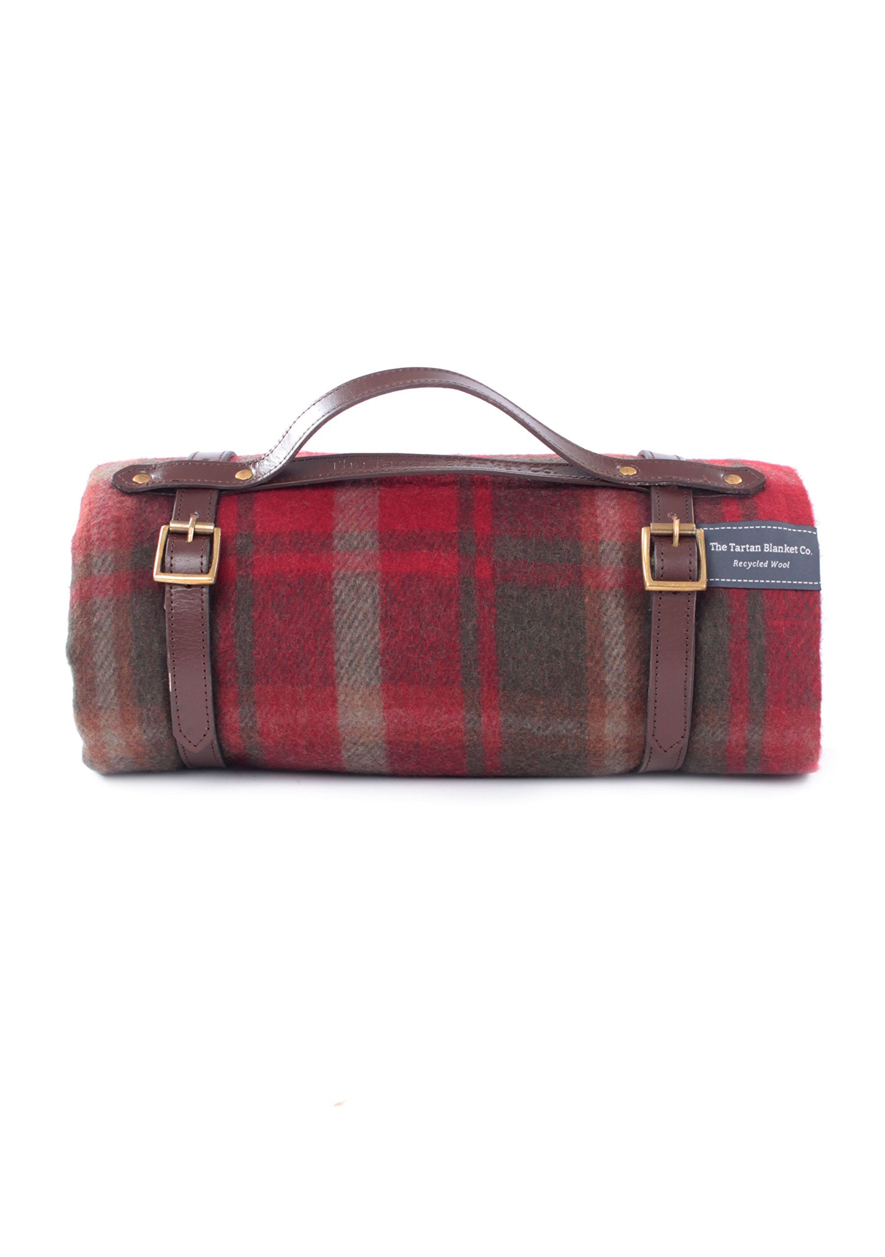 The Tartan Blanket Co. Recycled Wool Picnic Blanket with Brown Leather Strap (Dark Maple)