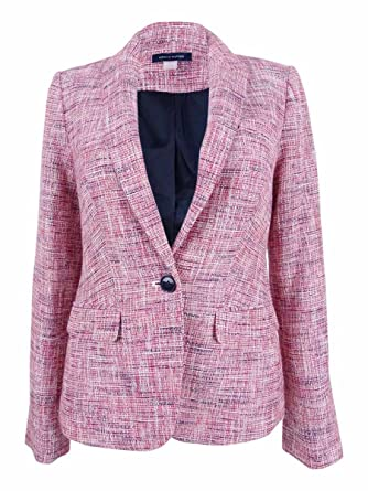 0d94d3bc663ce Tommy Hilfiger Womens Elbow-Patch Tweed One-Button Blazer at Amazon Women's  Clothing store: