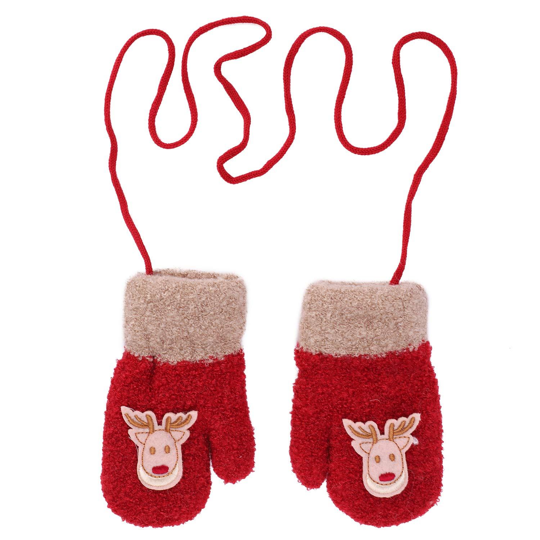 Gants Enfant Hiver Moufles Épaisses Gants de Ski Gants en Tricot Polaire Gloves Motif Renne Mignon Gants Chauds Doux Confort Garçons Filles Gants avec la Corde Tour du Cou Cadeau de Noël 3-6 Ans IBLUELOVER