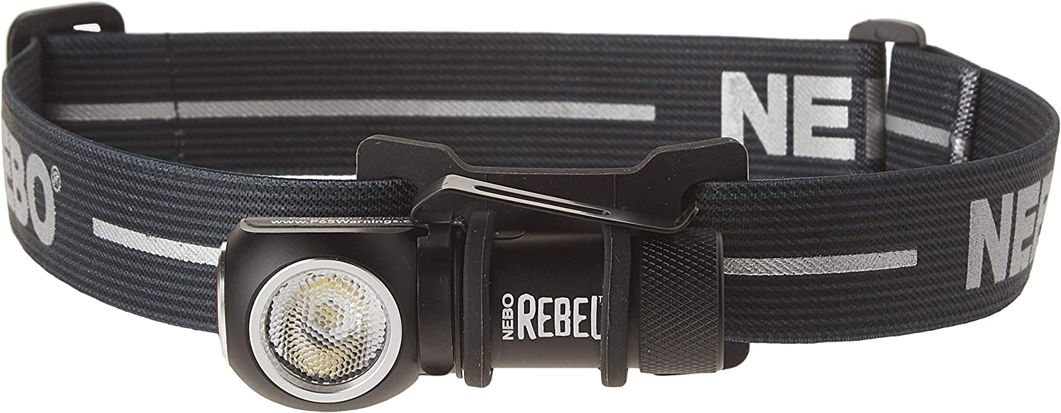 NEBO 6691 - REBEL - 600 Lumen Head Lamp + Task Light - Fully Rechargeable - Magnetic Base - Removable Steel Clip